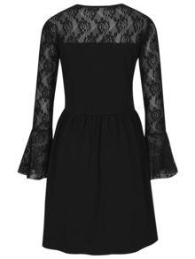 Čierne šaty s dlhým rukávom a čipkou ONLY Niella