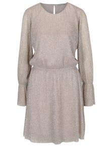 Béžové trblietavé šaty s dlhým rukávom ONLY Yade