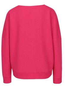 Bluza asimetrica roz cu aplicatie text din paiete ONLY Napoli