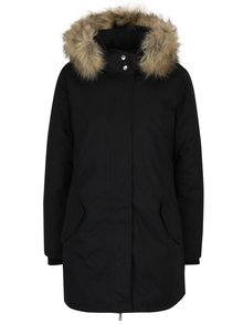 Černý kabát s kožíškem ONLY Sarah