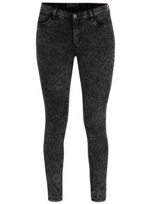 Tmavě šedé skinny džíny s vyšisovaným efektem ONLY Rie