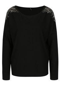 Čierne tričko s korálkovou aplikáciou ONLY Mirabella