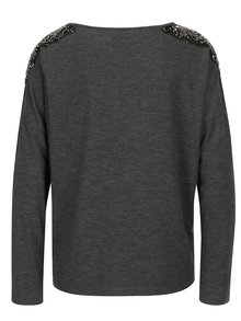 Tmavosivé melírované tričko s korálkovou aplikáciou ONLY Mirabella