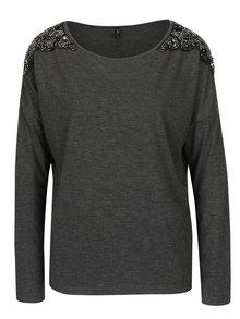 Bluza gri inchis cu aplicatie din margele pe umeri ONLY Mirabella