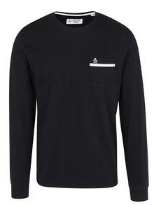 Čierne tričko s dlhým rukávom a náprsným vreckom Original Penguin Tape Pocket