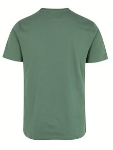 Tricou basic verde din bumbac cu logo brodat discret - Original Penguin Pin Point Embroidery
