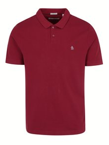 Tricou polo slim fit rosu -  Original Penguin Raised Rib