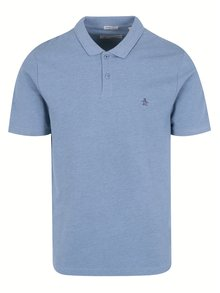 Tricou polo slim fit albastru - Original Penguin Raised Rib