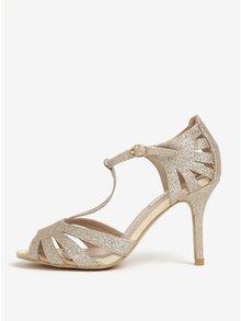 Trblietavé sandále v zlatej farbe na ihličkovom podpätku Dorothy Perkins