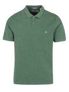 Tricou polo slim fit verde - Original Penguin Raised Rib