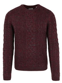 Pulover bordo&gri cu impletituri din amestec de lana ONLY & SONS Heath