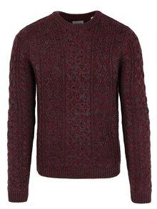 Vínový žíhaný svetr s příměsí vlny ONLY & SONS Heath