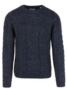 Pulover bleumarin&maro deschis cu impletituri din amestec de lana ONLY & SONS Heath