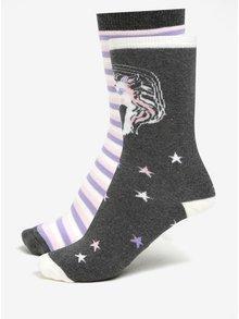 Súprava dvoch párov sivo-krémových protišmykových ponožiek Dorothy Perkins