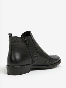 Čierne kožené chelsea brogue topánky Tamaris