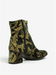 Tmavě zelené sametové kotníkové boty na podpatku Tamaris
