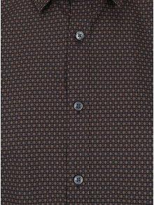 Tmavohnedá slim fit vzorovaná košeľa Seidensticker