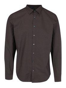Tmavě hnědá slim fit vzorovaná košile Seidensticker