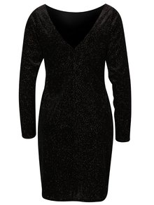 Čierne ligotavé šaty s dlhým rukávom Dorothy Perkins