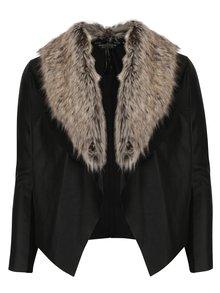 Černá koženková bunda s umělým kožíškem Dorothy Perkins Curve