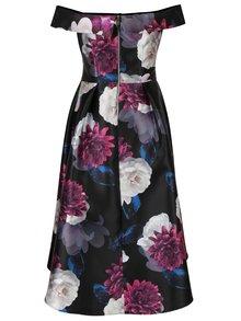 Černé květované midišaty s odhalenými rameny Dorothy Perkins