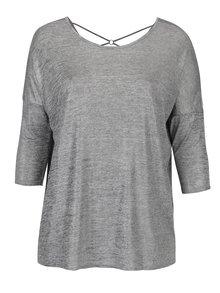 Sivé melírované trblietavé tričko s 3/4 rukávom Dorothy Perkins Curve