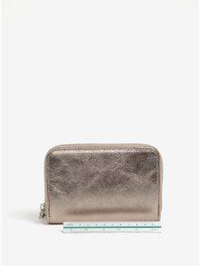 Kožená malá peňaženka v bronzovej farbe na zips ZOOT
