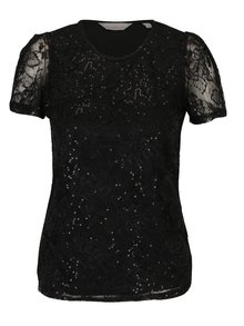 Tricou negru cu dantela si paiete aplicate - Dorothy Perkins Petite