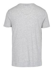Svetlosivé melírované pánske tričko s krátkym rukávom Broadway Rance