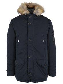 Tmavě modrá bunda s umělou kožešinou Burton Menswear London