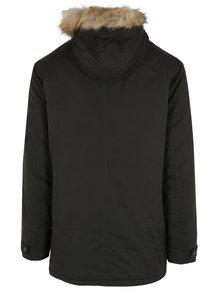 Tmavozelená bunda s umelou kožušinou Burton Menswear London