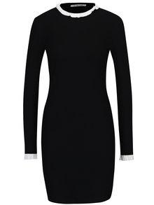 Černé žebrované šaty s krémovým límečkem Rich & Royal