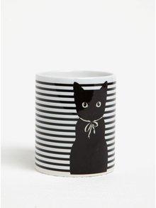Cana din ceramica cu dungi si pisica Butter Kings