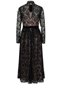 Meruňkovo-černé dlouhé krajkové šaty Little Mistress