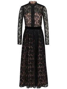 Marhuľovo–čierne dlhé čipkové šaty Little Mistress