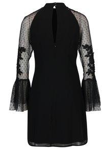 Čierne šaty s tylovými volánovými rukávmi Little Mistress