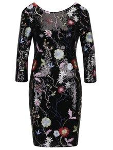 Čierne flitrované šaty s kvetovanými výšivkami a 3/4 rukávom Little Mistress