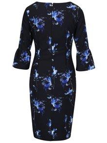 Modro–čierne kvetované šaty s volánmi na rukávoch Paper Dolls