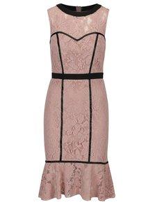 Staroružové čipkové šaty s volánovým lemom Paper Dolls