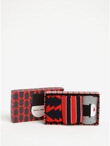 Vánoční sada tří párů vzorovaných ponožek dárkové krabičce Jack & Jones Gift Box