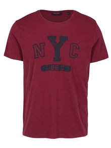 Vínové pánske tričko s krátkym rukávom Broadway Bennie