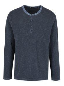 Modré pánské pruhované tričko s dlouhým rukávem Broadway Panur
