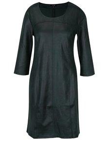Tmavě zelené koženkové šaty s 3/4 rukávem Yest