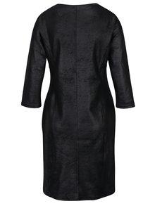Čierne koženkové šaty s 3/4 rukávom Yest