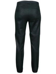 Tmavě zelené regular fit kalhoty se vzhledem broušené kůže Yest