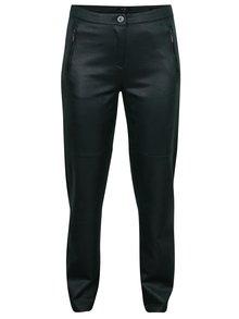 Tmavozelené regular fi nohavice  so vzhľadom brúsenej kože  Yest