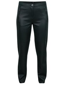 Tmavozelené koženkové regular fi nohavice Yest