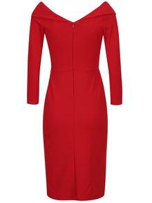 Červené puzdrové šaty s uzlom v dekolte ZOOT