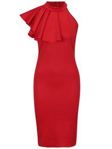 Červené puzdrové šaty s volánom ZOOT