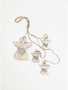 Sada čtyř kusů dřevěné závěsné dekorace ve tvaru andělů v bílé barvě Dakls